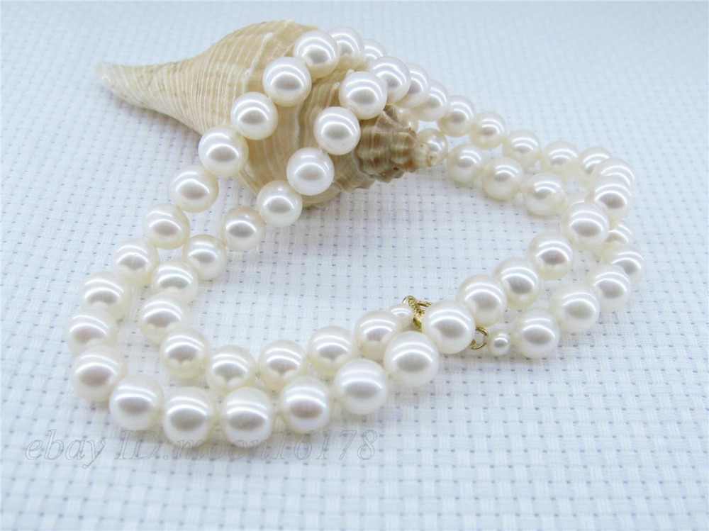 FREE shipping>>> >>>White 7-7.5mm AAA+ Round Akoya Pearl Necklace 18