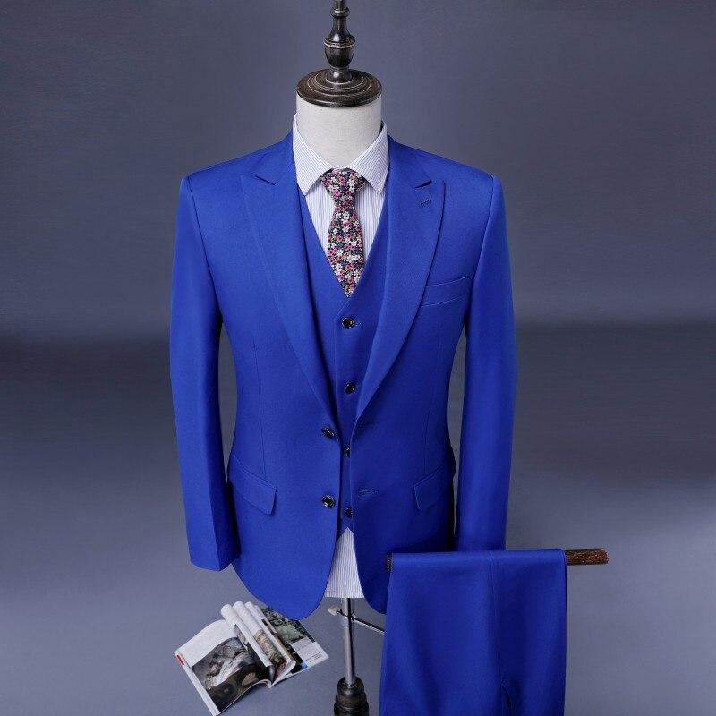 Royal Blue Bruidegom Suits Custom Made Dubbele Breasted Tuxedos 3 stuks Wedding Suits Voor Mannen Stalknecht Suits Pakken-in Pakken van Mannenkleding op  Groep 3