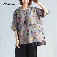 Nicelegant Summer 2017 New Korean Printing Horse Half Sleeve Tshirt Women Loose O Neck Fashion Tee