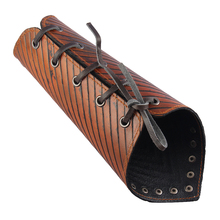 High Quality Women Mens Cowhide Leather Gauntlet Wristband Medieval Wide Bracers Lace Up Arm Cuff Protector