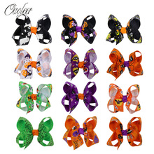 12 Pcs/Lot 3 Halloween Hair Bows for Girls Pumpkin Printed Ribbon Hairbows Hairgrips Accessories