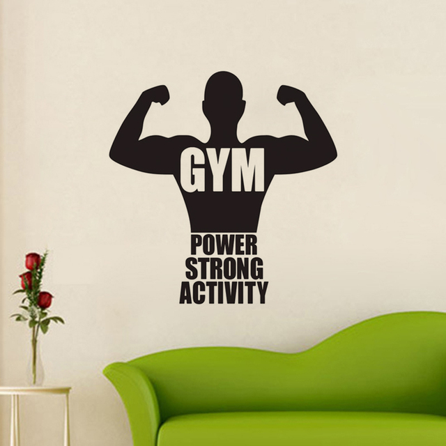 Gym Vinyl Wall Decorative Sticker Quotes Power Strong Activity Wall Decals  Boyu0027S Room Creative Wall Stickers