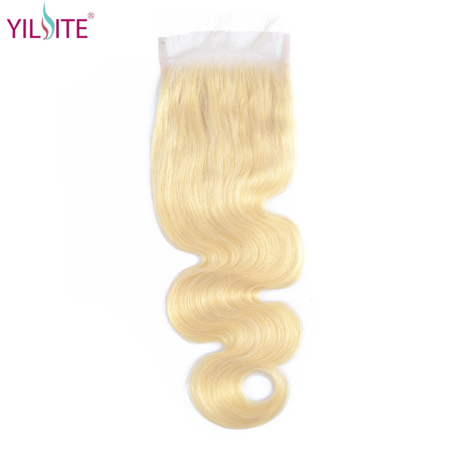 YILITE Blonde #613 Brazilian Body Wave Human Hair Closure 4*4 Free/middle/three Part Remy Hair Swiss Lace 1b/613 Tangle Free image