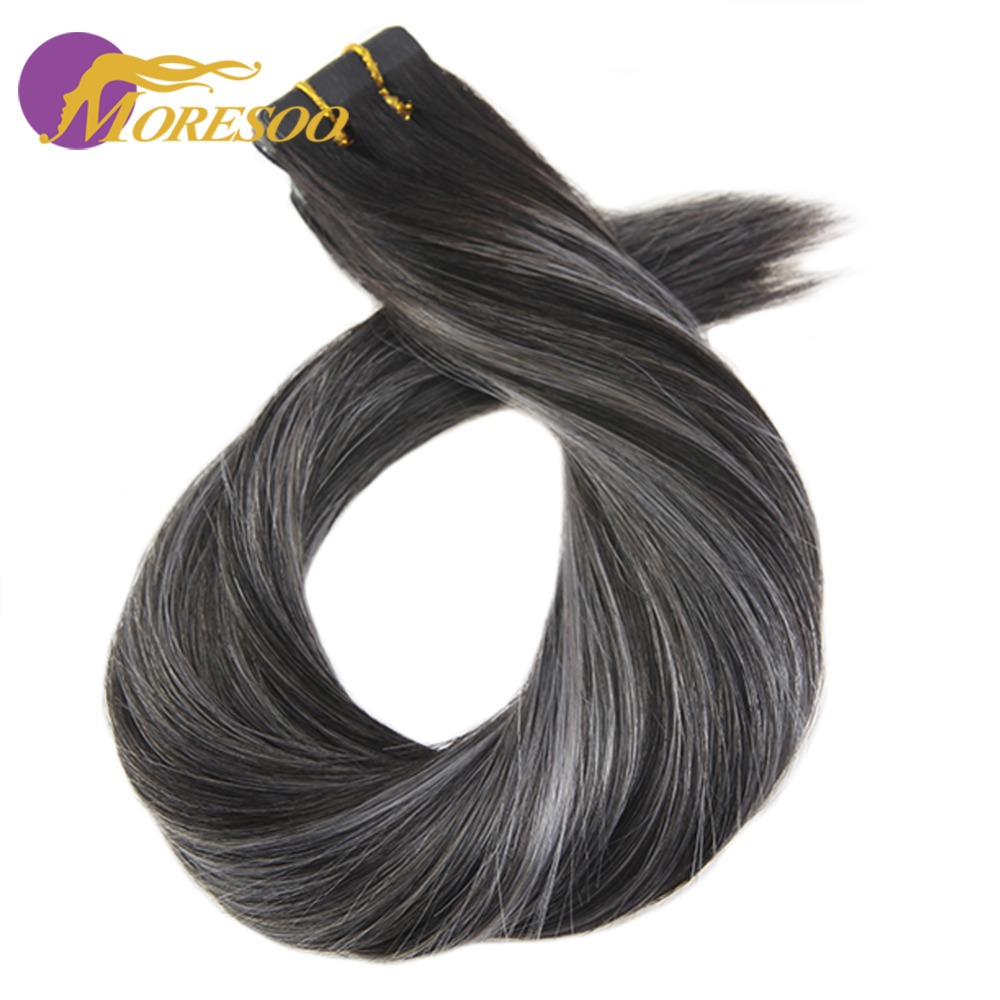 Moresoo Balayage Tape In Hair Extensions Remy Human Hair Invisible Tape Skin Weft Straight 14-24 Inch 2.5g/Pcs Brazilian Hair
