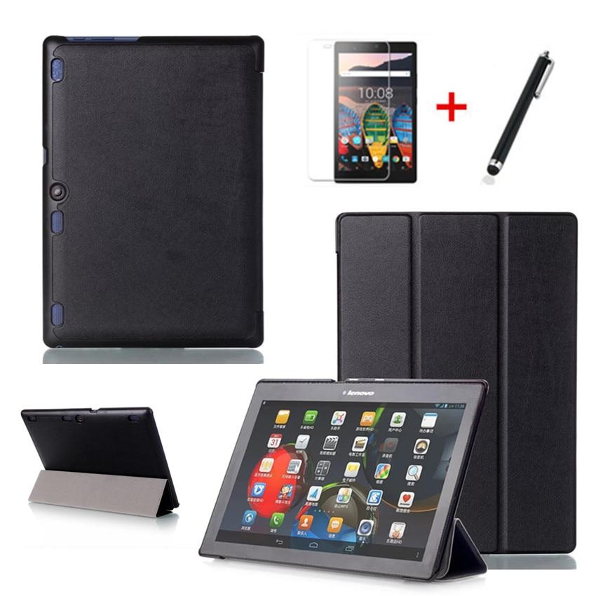 Capa para lenovo tab 2 a10 70f, capa de proteção, em couro, para tab2 A10-70, 70, A10-70F, A10-70L, x30f, tablet película + caneta 10.1''