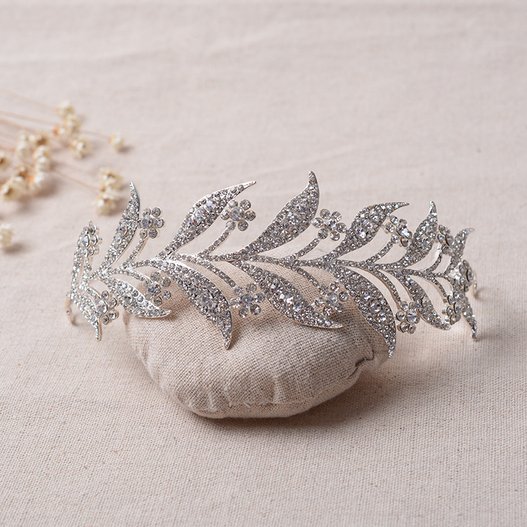 Barroco Nupcial Ramos de Cristal Flor de Strass Tiara Hairband Casamento Prom Pageant Crown Cabelo Jóias Hairdress Acessórios