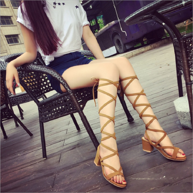 New Sexy Party Solid Cross-tied Lady Square Heels Knee High Sandals Women Shoes sandalia ...
