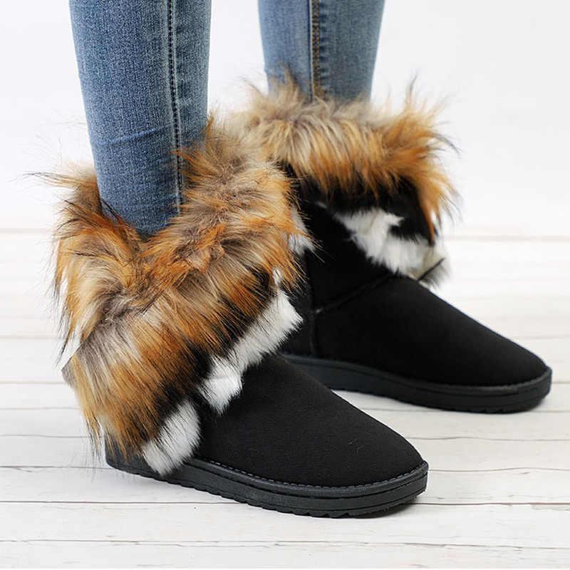 Bottes de neige d'hiver femmes fausse fourrure bottines femme sans lacet chaussures de mode chaudes dames chaussures confortables plates grande taille
