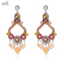 Badu Baroque Crystal Earring Women Vintage Long Dangle Earrings Big Rhombus Pendant 3 Colors Retro Fashion Jewelry Handmade