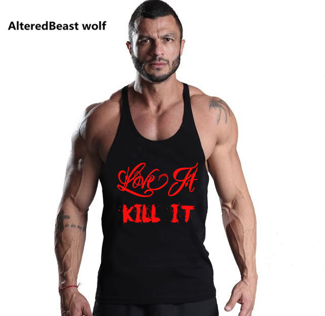 Bodybuilding Men LOVE IT KILL IT print Tank Tops workout Sleeveless Shirts Fitness Tops Tank Men