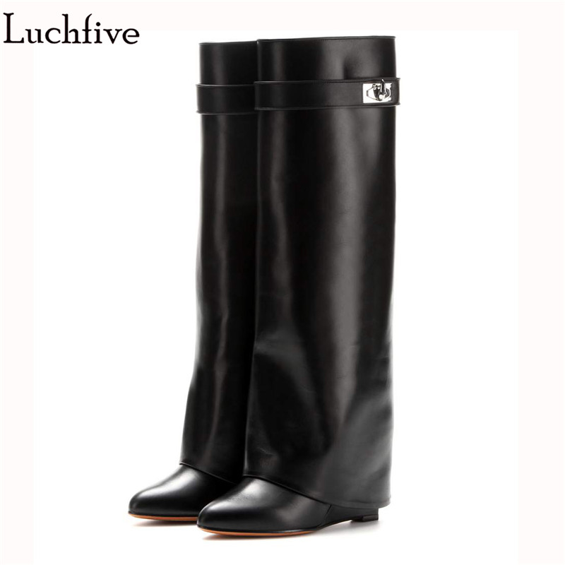 New Fashion genuine Leather Shoes Woman Pointed Toe Motorcycle Booties Belt Strap Metal Shark Lock Wedge Knee High Boots ladies runway shoes leather shark lock wedge boots pointed toe metal button zip ankle boots for women motorcycle autumn booties