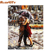 Frameless Romantic Lover Figure Painting DIY Painting By Numbers Kits Coloring Hand Painted Oil Painting For