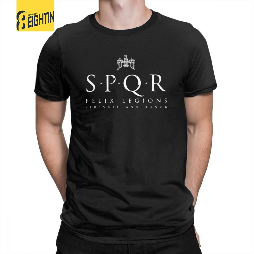SPQR T-Shirts Vintage Roman Empire Army T Shirts Short-Sleeved Unique Printing Crew Neck Male Purified Cotton Tee Shirt Plus