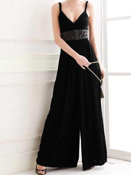 2014 spring summer Fashion black V-neck spaghetti strap wide leg pants one-piece jumpsuit long culottes plus size - E Beauty Clothes Store store