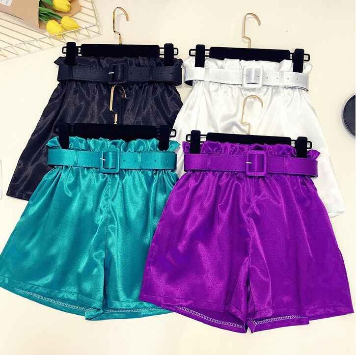 c92421704fab5f 2018 Summer New Fashion Women Pure Color Bright Silk Satin High Waist  Elastic Sashes Wide-