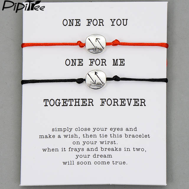 1fe9ec014fbd4 Pipitree 2pcs/set One for you One for me Forever Couple Bracelets for  Lovers Women Men Lucky Red Cord Wish Bracelet Jewelry Gift