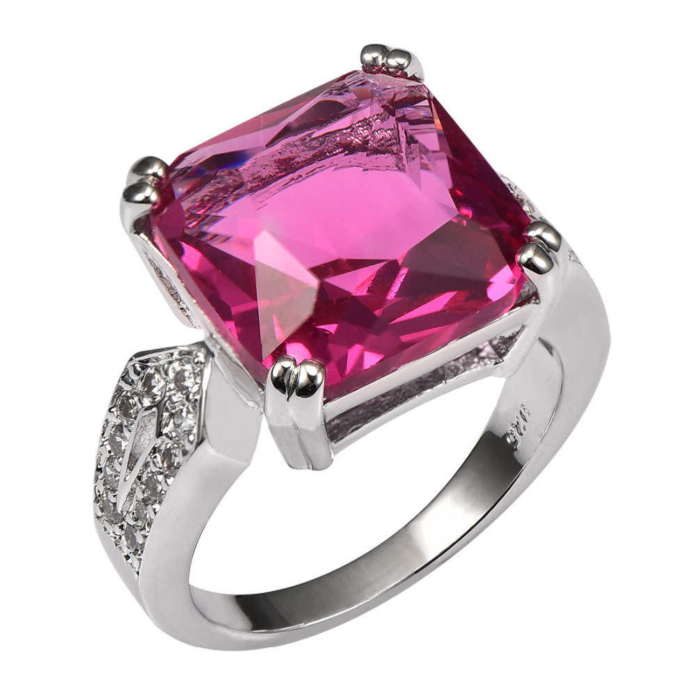 Huge Red Crystal Zircon 925 Sterling Silver Ring Factory Price For ...