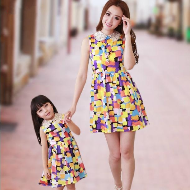 FAMILY Dress 2015 New Fashion Mother and Daughter Dresses Summer Girls Mummy Family clothes Colourful kids