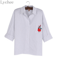 Lychee Spring Summer Women T Shirt Flower Rose Embroidery Stripe Casual Loose Shirt Tops Chic