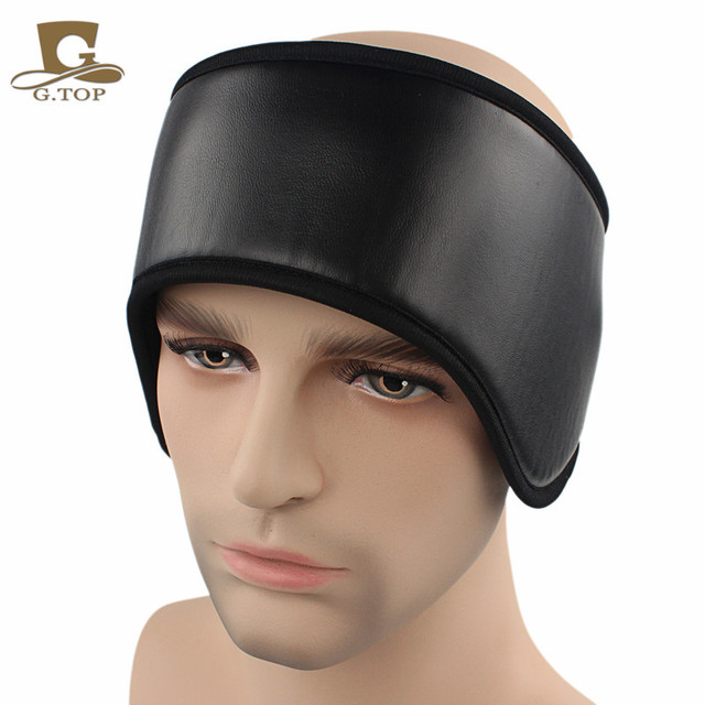 NEW black leather Ear Warmer Winter Head Band Polar Fleece earmuff headband  Ear Muff Unisex a0c629a83b7