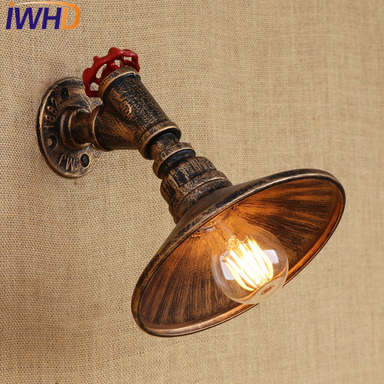 IWHD Loft Style Antique Water Pipe Lamps Industrial Edison Wall Sconce Iron Vintage Wall Light Fixtures Indoor Lighting Lampara loft style iron edison wall sconce industrial lamp wheels vintage wall light fixtures antique indoor lighting lampara pared