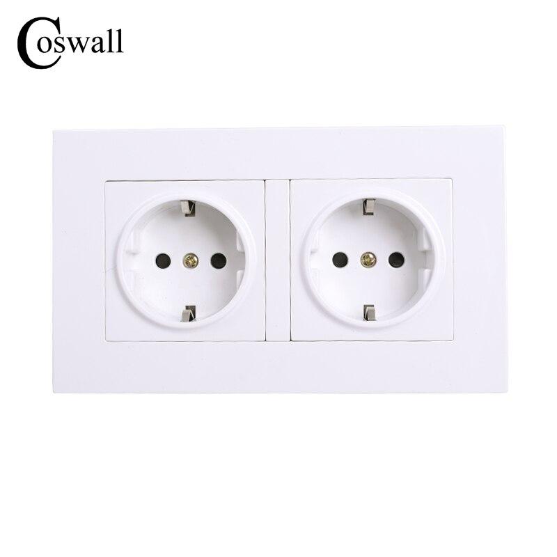 COSWALL enchufe doble enchufe de pared de alta calidad con conexión a tierra, 16 a toma doble eléctrica estándar de la UE 146mm * 86mm