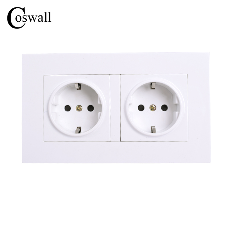 COSWALL High Quality Wall Power Dual Socket Plug Grounded, 16A EU Standard Electrical Double Outlet 146 Mm * 86 Mm