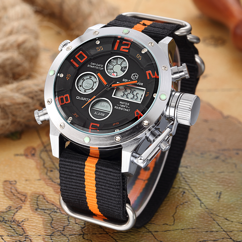 Top Luxury Brand Mens Quartz Analog Digital Watches Men Fashion Casual Male Sport Led Canvas Casual Clock Military Wristwatches