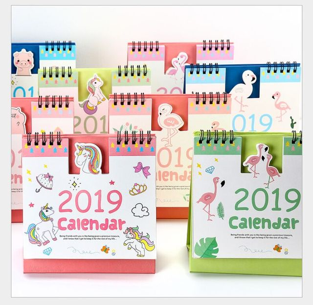 new year 2019 calendar love flamingo cactus dream unicorn cute pig desktop calendar daily scheduler table