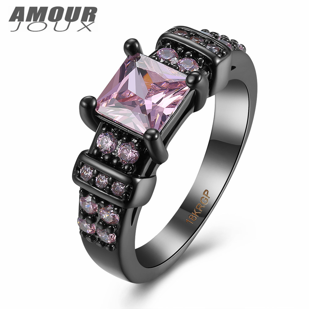 india jewelry marine corp rings promotion marine wedding rings AMOURJOUX Classic Square Pink Clear Zircon Black Gun Plated Polish Band Rings For Women Female Wedding Ring For Party Gift