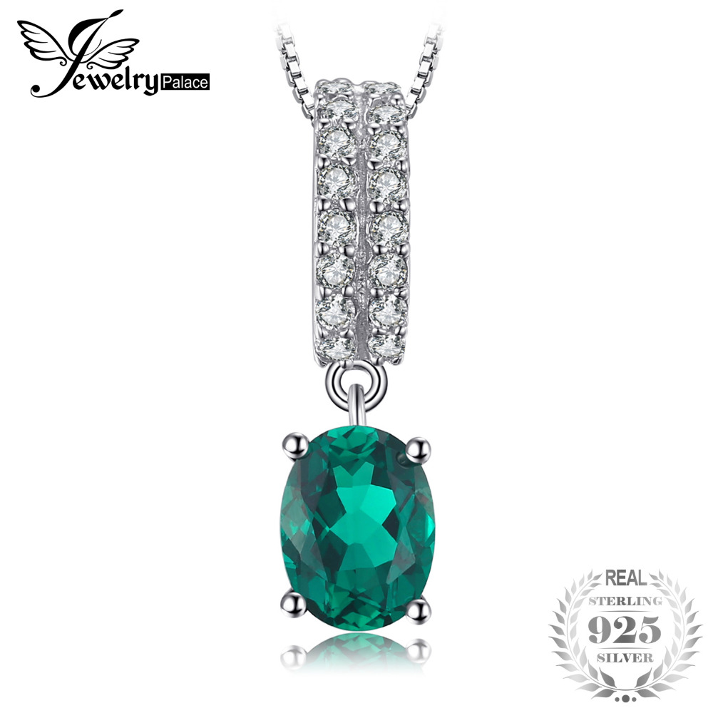 JewelryPalace Bornstone 1.4ct Oval Nano Russian Simulated Emerald Engagement Pendants 925 Sterling Silver Not Include A ChainJewelryPalace Bornstone 1.4ct Oval Nano Russian Simulated Emerald Engagement Pendants 925 Sterling Silver Not Include A Chain