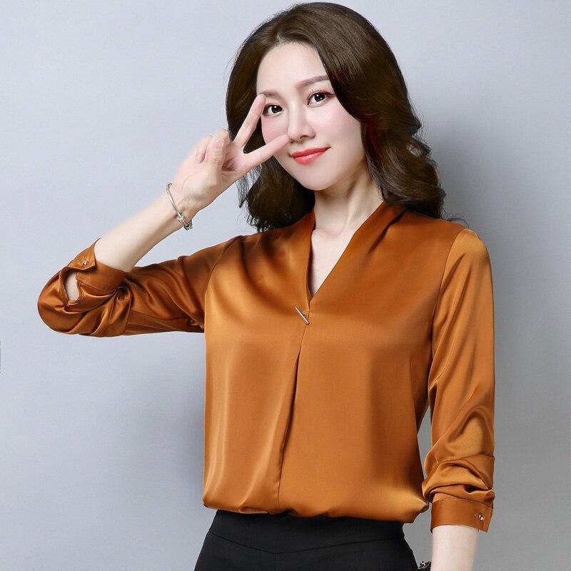 Spring Fall Fashion Women Office Lady Orange Black Green Long Sleeve 4xl Blouse , Formal Woman V Neck Wine Red Elegant Blouses 2