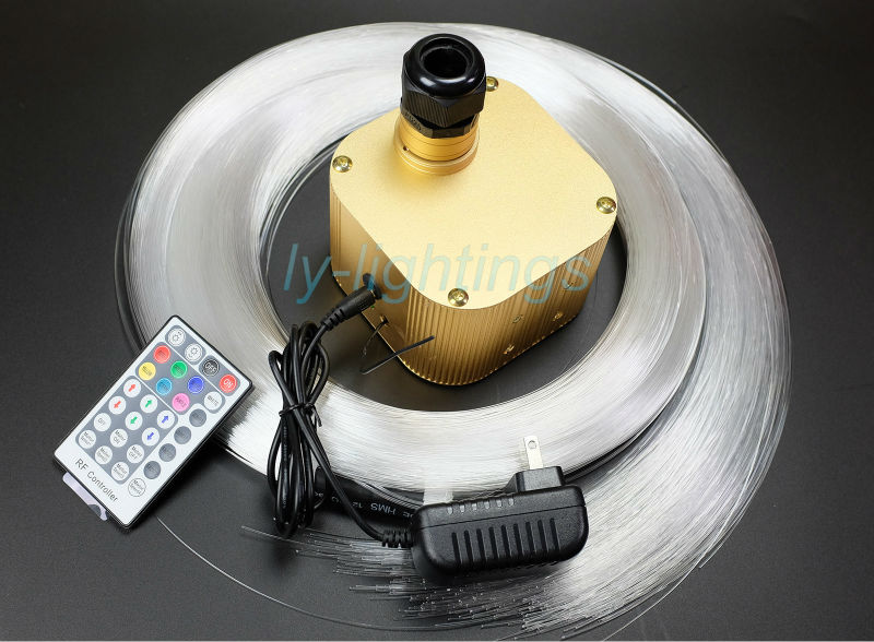Twinkle stars effect 16W RGB+White fiber optic lights led light engine+ top PMMA optical fibers mix size wireless remote 45w music sound controlled led rgb optical fiber light engine with 20key remote