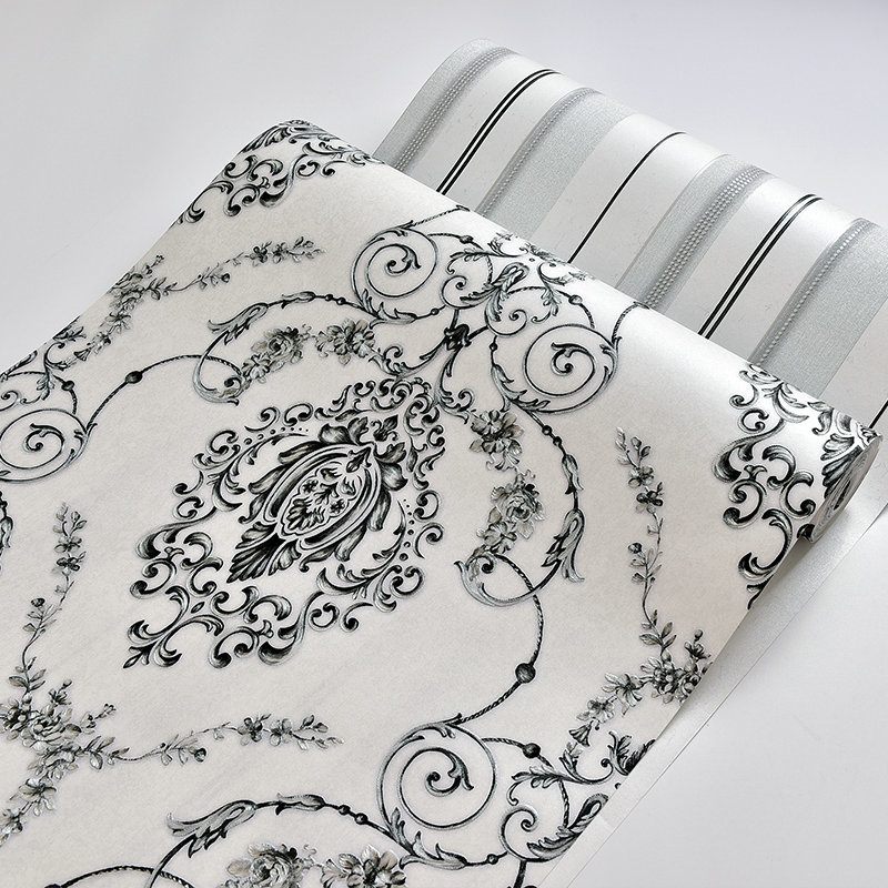 Classic White And Black Damask Wallpaper Match Vertical