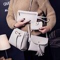 4 Sacos definir bolsas de mulher bolsa sacos de ombro de couro Pu Sacos Mulheres Mensageiro senhoras sacos de mão de couro 2017 Bolsas de Embreagem Bolsas