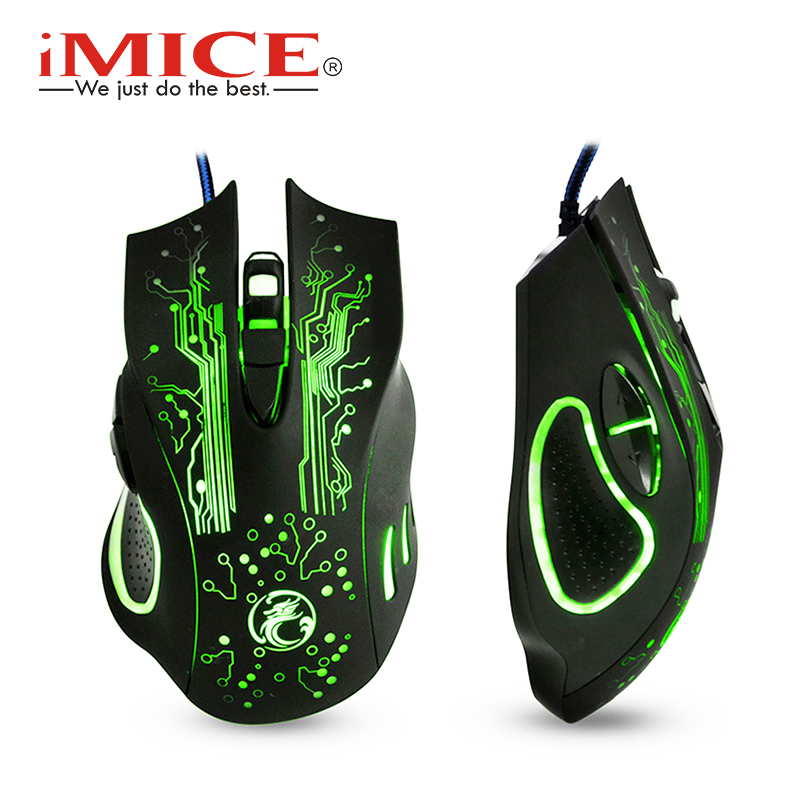 IMice ratón de Juegos de ordenador Gamer ratón con cable ergonómico Mause silencio ratones USB silencioso 5000 dpi juego ratones para PC ordenador portátil