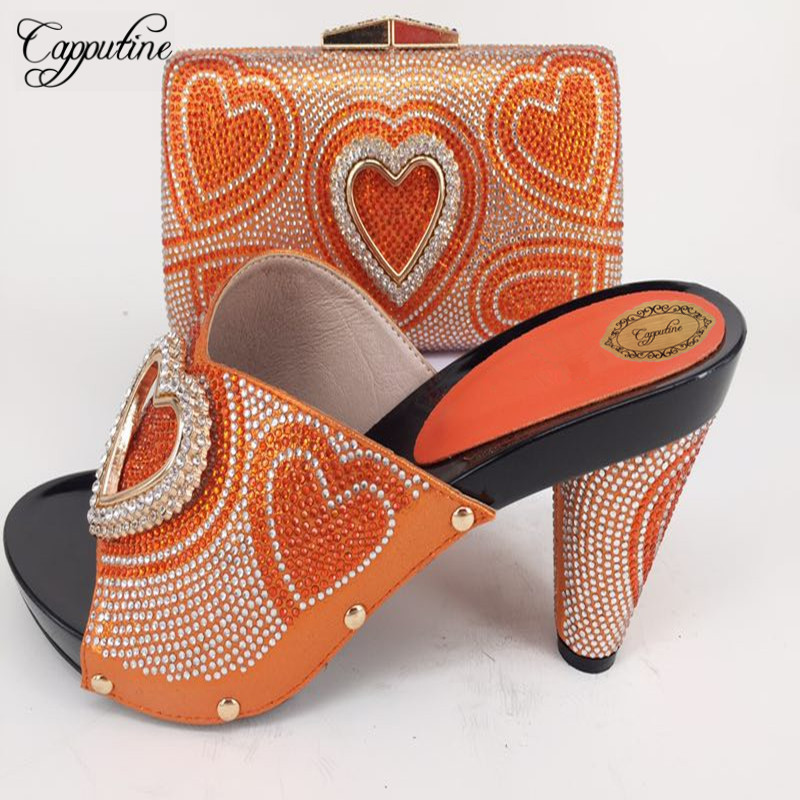 Capputine Orange Heart Rhinestone Woman Shoes And Bags Set Italian Style High Heels 11CM Slipper Shoes And Bags Set For Party