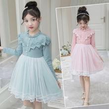 Girls Dress 2018 Autumn New White Princess Denim Full Sleeve  Children Lace Baby Clothes 2-7Years