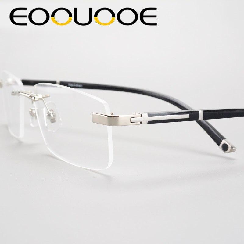 EOOUOOE Hommes Rimless Lunettes Métal TR90 Lunettes Mâle Effacer Lunettes Oculos De Grau Myopie Optique Oculos Gafas Opticas Cadre