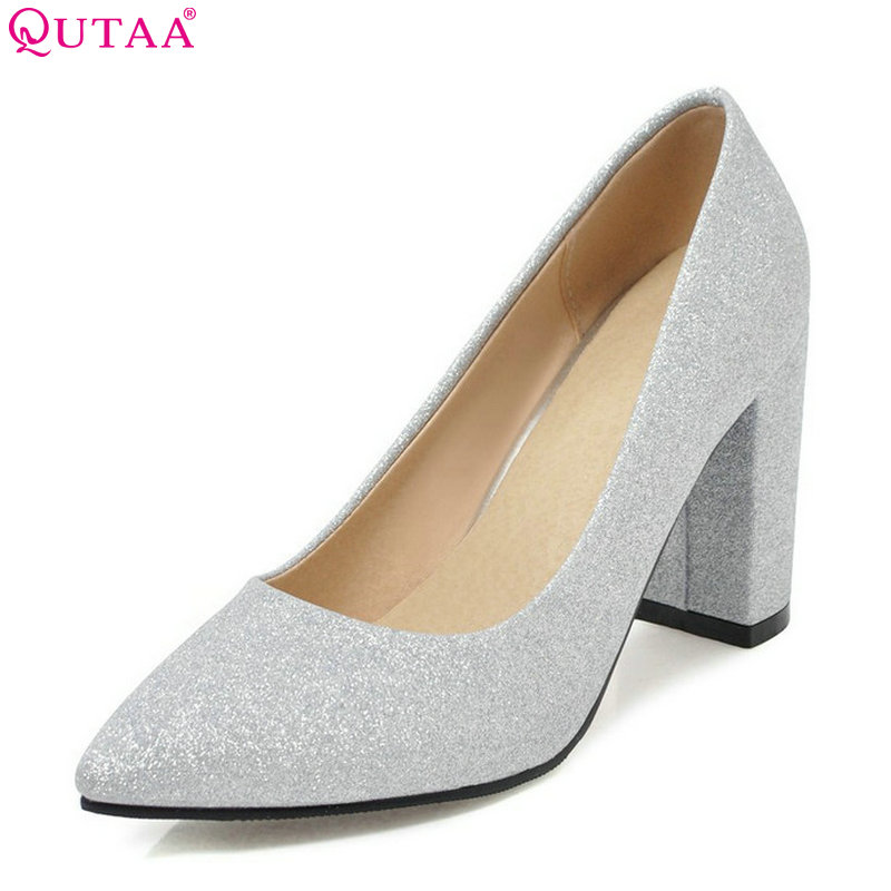QUTAA 2018 Women Pumps Bling Fashion Pointed Toe Casual Women Shoes Square High Heel Pu Leather Ladies Pumps Size 34-43 стоимость