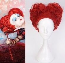 Alice in Wonderland kırmızı kraliçe Cosplay peruk kraliçesi kalpler kırmızı isıya dayanıklı sentetik saç peruk + peruk kap