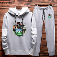 2019 spring and autumn sally face Hip Hop sweatshirt and sweatpants two piece fashion logo brand men's hooded suit free shipping