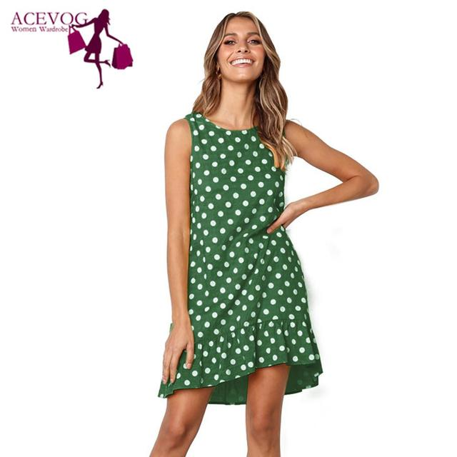 f653c40060f0 Women Casual Dot Print Sleeveless Ruffle Summer Loose Above Knee Swing  A-Line Mini Dresses O Neck