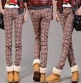 Жир MM200 фунтов зимой плюс бархат клетчатые брюки случайных женщина XL талии брюки ноги толстые теплые дна зимние женщины растянуть casu