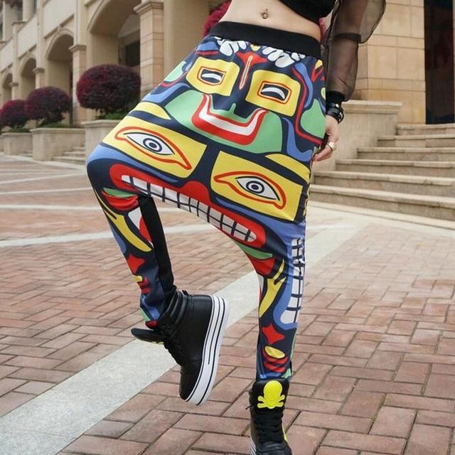 New fashion harajuku Facebook sweatpants hip hop joggers baggy drop crotch pants women men pattern printed loose harem pants