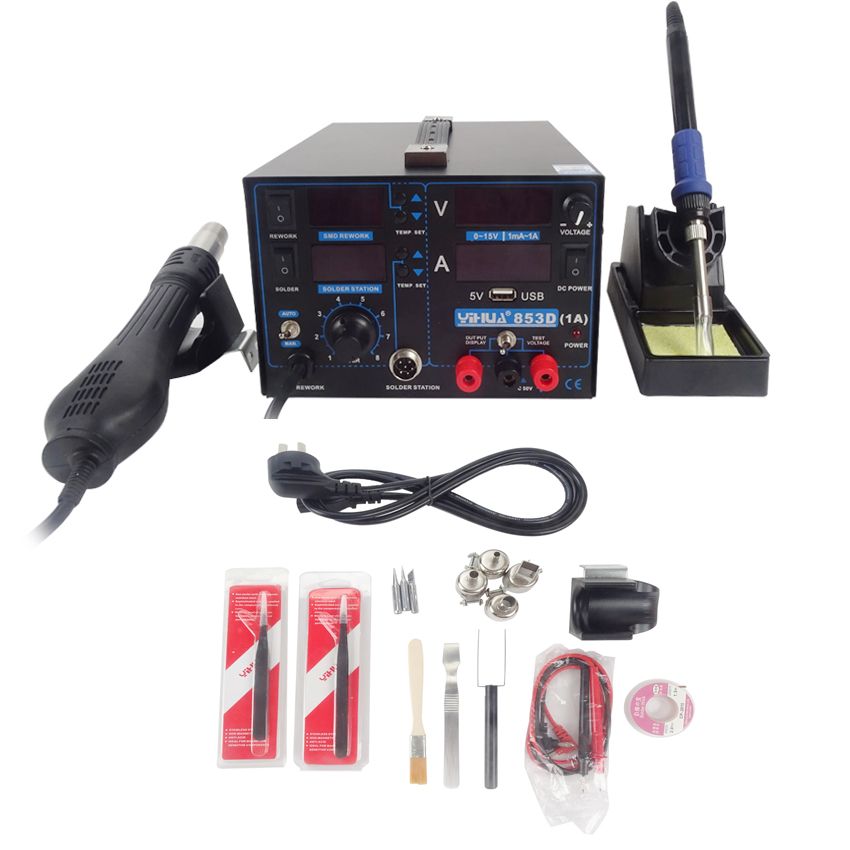 110V/220V YIHUA 853D 1A 1pc repair soldering station hot air gun solde iron Soldering Station with English Manual