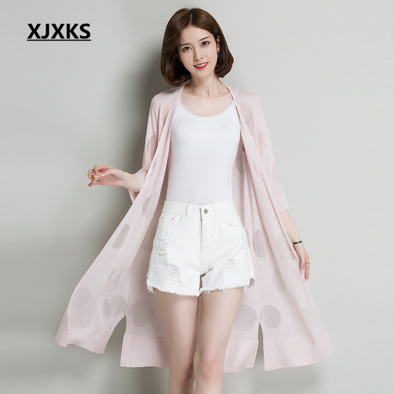 XJXKS Womens Knitted Thin Sweater Cardigan 2018 Summer Long Fashion Women's Three Quarter linen Sun Protection Clothing Cardigan