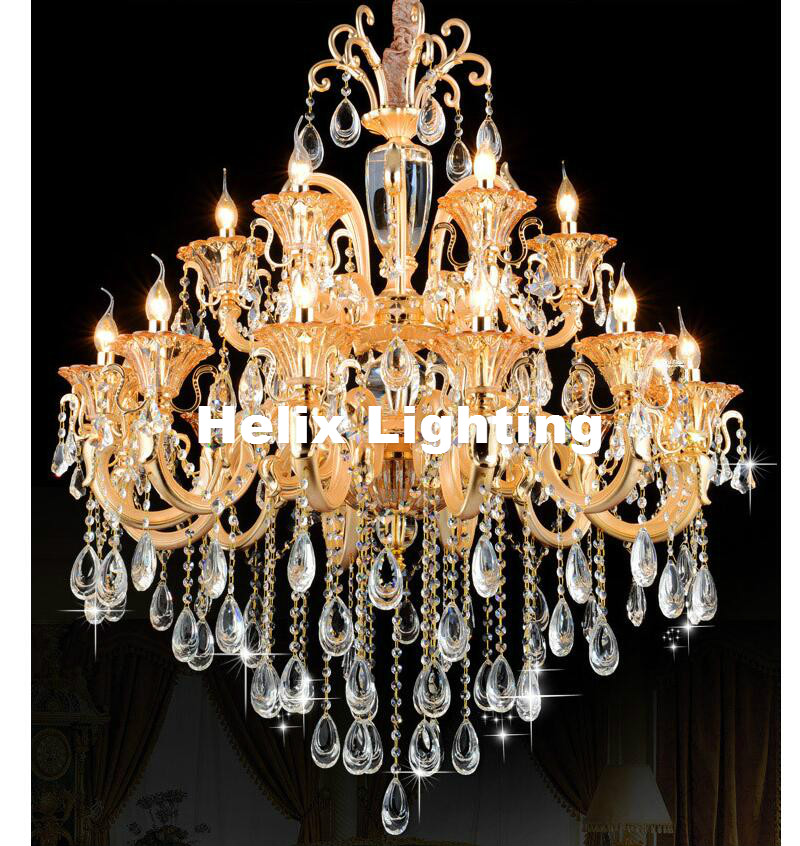 Modern European-style Luxury Crystal Chandelier Golden Color 18L Zinc Alloy Chandeliers For Home Hotel Decoration Chandelier minimalist style chandelier choice of color french gold and chrome crystal lamp crystal chandelier golden color is ready made