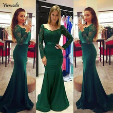 Green Muslim Evening Dresses 2019 Mermaid V-neck Long Sleeves Lace Dubai Saudi Arabic Gown Satin Formal Dress