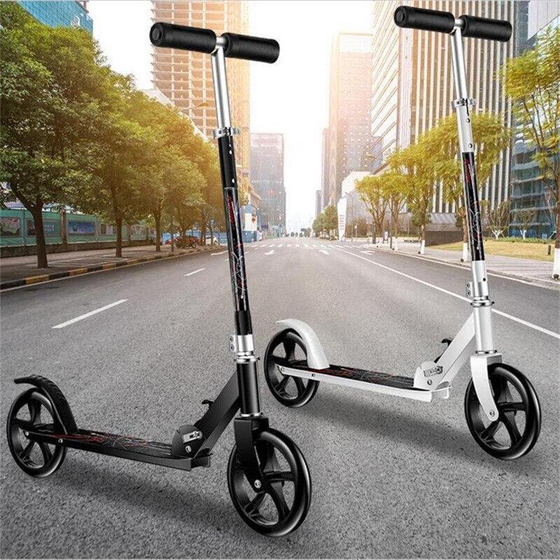 HOOMORE mode Scooter Skate Cycle Hoverboard planche à roulettes 2 roues deux hauteur réglable adulte enfants coup de pied pliable roue 200mm